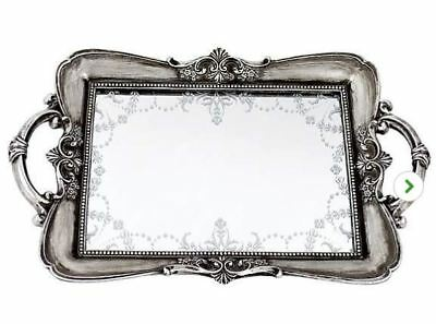 Maison Chic Venetian Tray Vintage Antique Style Silver Table Mirrored Decor