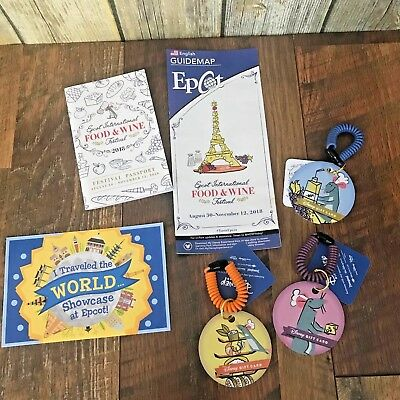 Disney LOT Epcot Remy Food Wine Festival 2018 Passport Postcard Gift Cards Map