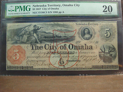 1857 $5 CITY of Omaha Nebraska Territory Obsolete Note PMG VF20