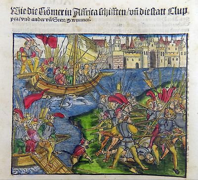 1514 LIVY - POST INCUNABULA woodcut ROMAN EMPIRE - ROMANS ATTACK AFRICA