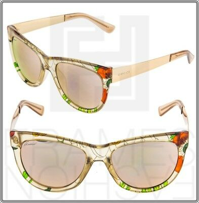 9eda5579c40ee GUCCI FLORAL SILK 3739 Rose Gold Mirrored Metal Sunglasses GG3739S Authentic