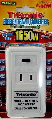 Foreign Travel Converter Step Down Voltage Power Adapter 220V-110V 50/1650 Watts