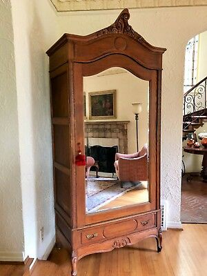 Antique Oak Beveled Mirror Armoire