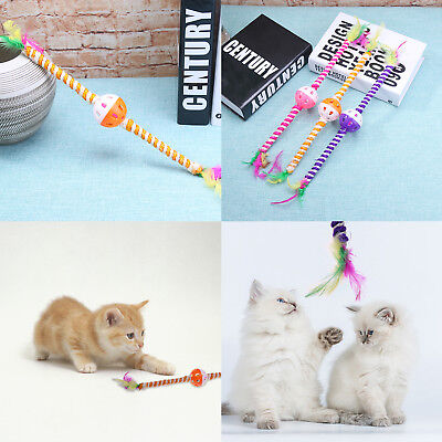 Cat Feather Teaser Stick Sisal Rope Bell Ball Wand Pet Interactive Play Cute Toy