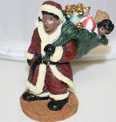 1998 Youngs Holiday Gifts African American Santa Carrying Gifts Figurine