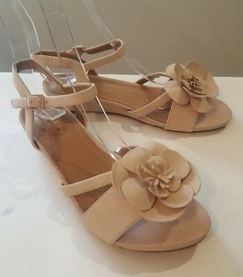96b19eafb CLARKS Artisan Ladies Dusty Pink Leather Low Wedge Sandals Flower Detail UK  5 D