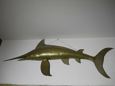 Vintage Brass MARLIN Wall Sculpture - Extra Large 4' L - PICK-UP ONLY