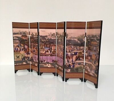 Small Decorative Chinese Folding Laquer Screen In Box Copy of Ancient Design