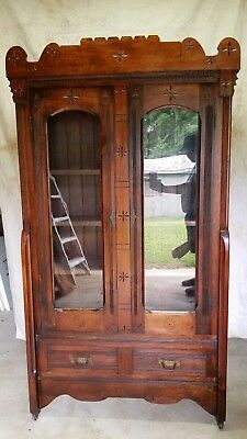Tall Victorian Eastlake Walnut Ship Captain's Bookcase with Carved Gallery c1880