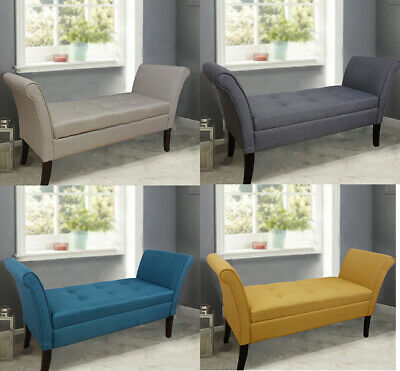 Wentworth Easy to Assemble Linen Look Window Seat Ottoman Storage Bed End Sofa