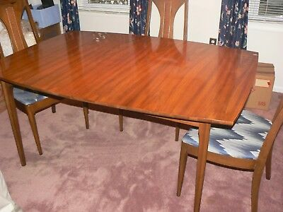 Mid-Century Modern Dining Table pads, Six (6) Chairs, China Cabinet, Pads