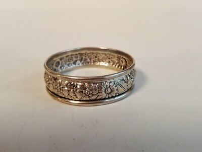Rare Bridal Bouquet Pattern STERLING SILVER NAPKIN RING BY Alvin Silversmiths