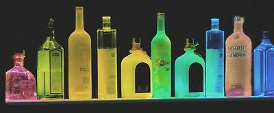 "34"" MULTI-COLOR LED LIQUOR BOTTLE DISPLAY SHELF,LIGHTED BAR SHELF w/REMOTE"