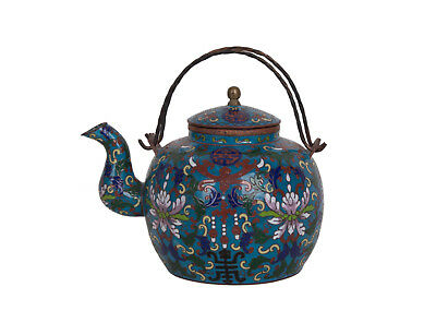 China 19. Jh. Qing Tee / Wein Kanne -A Chinese Cloisonne Teapot Théière chinois