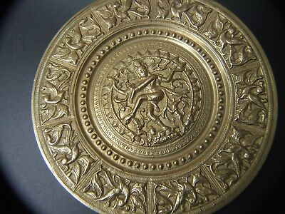 Antique  Brass  Plate Nataraja Lord Shiva Dance Indian Handmade Art
