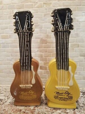 (2) Vintage MUSIC CITY Nashville Kentucky Bourbon GUITAR SHAPED Decanter Bottles