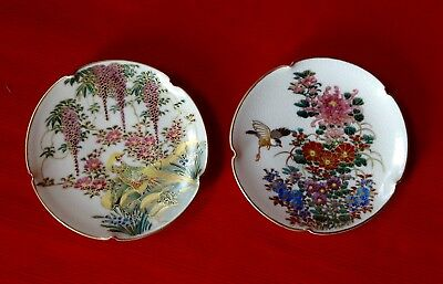 Antique, Japanese Satsuma, Two Beautifully Hand Decorated Pin Trays. Vgc
