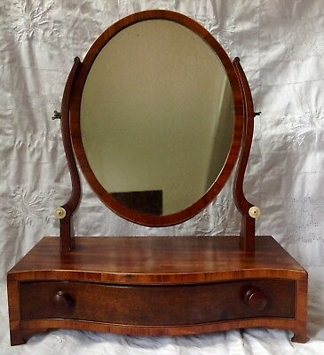 Mid 19th Century Wood Victorian Oval Shape Vanity Mirror Single Drawer Front.