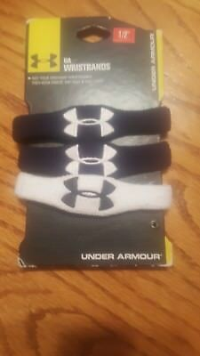 "Under Armour 1/2"" Wristbands, Black and White, NWT"