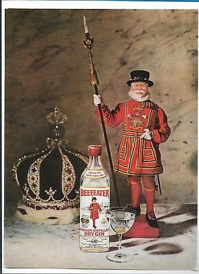 1969 BEEFEATER London Dry Gin Vintage Print Ad Advertising Art
