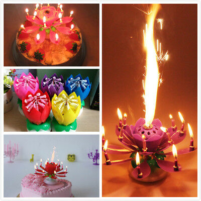 Dabmoo Musical Birthday Candles Amazing Blooming Opening Lotus Special Romantic Happy Music Play Sparkling Flower