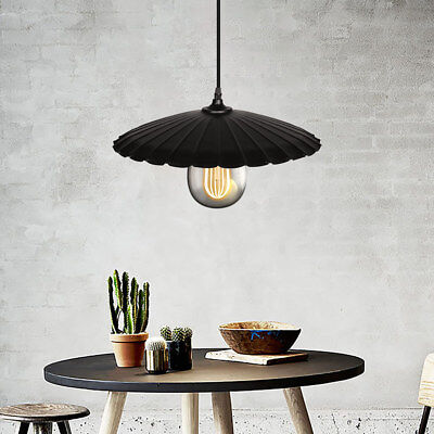 Industrial Pendant Light Retro Ceiling Fixture Vintage  Metal Hanging Lamp Black