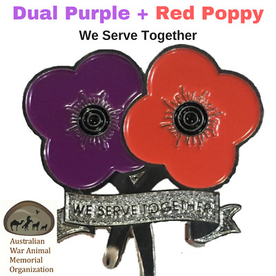 Purple Poppy & Red Poppy Lapel Pin - We Serve Together Dual Poppy Pin