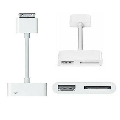 Apple 30-pin Digital AV Adapter to HDMI for Iphone Ipad (White) - 100% Genuine