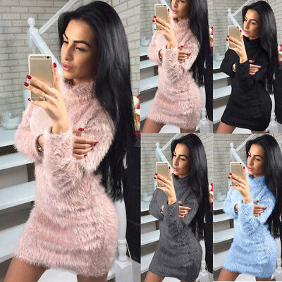 Women Winter Long Sleeve Fluffy Sweater Tops Ladies Party Bodycon Jumper Dress