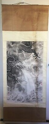 Vintage - Chinese  Hand Painted Magnificent Dragon Scroll Wall Hanging