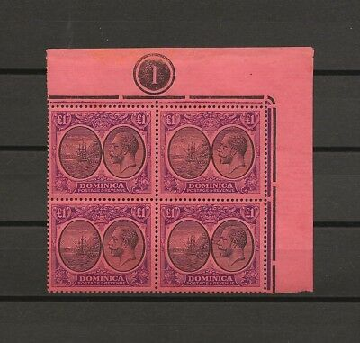 DOMINICA 1923/33 SG 91 MNH Plate Block Cat £900