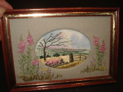 VINTAGE HAND EMBROIDERED TEXTILE ART PICTURE in Original Frame Beautiful