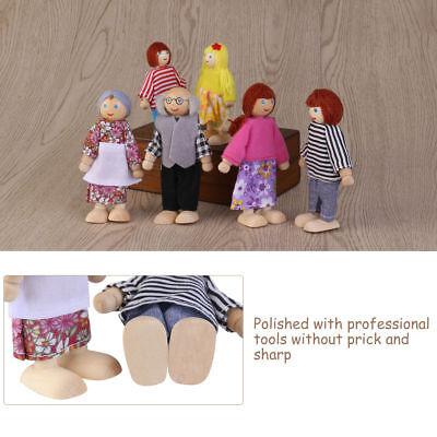 6X Cute Wooden House Family People Dolls Set Kids Children Pretend Play Toy Gift