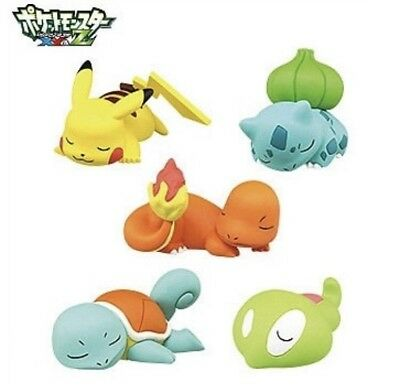 5 Set Anime Pokemon Bulbasaur Squirtle Pikachu Schlafende Action Figur Rasen Neu