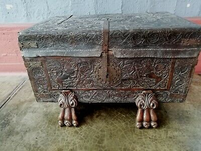 ANTIQUE 1800s SPANISH COLONIAL TRUNK CHEST HAND CARVED WOOD AND LEATHER
