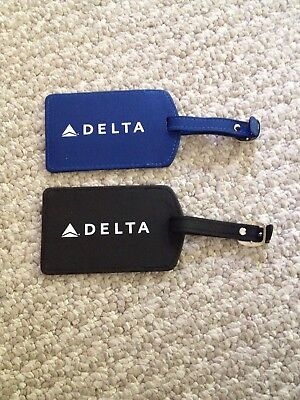 Lot Of 2 Delta Airlines Leather Luggage Tags  New
