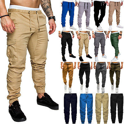 Men Joggers Casual Elasticated Waist Sweat Pants Workout Slim Fit Long Trousers