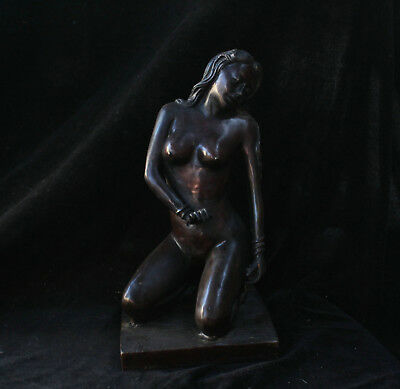 30cm Collect Chinese Old Bronze Coppeer Handmade beauty girl people Statue AXBM