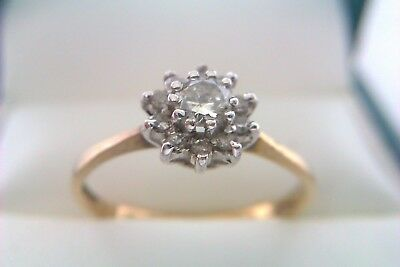 Beautiful Vintage 9ct Gold & Diamond Ladies Flower Cluster Ring 1986