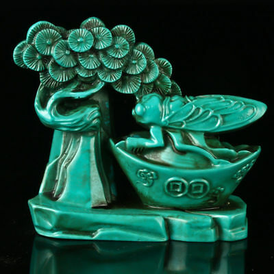Chinese Turquoise Hand-Carved Scenery Statue