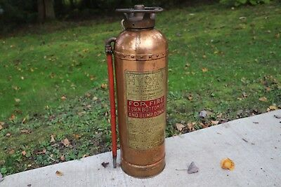 Vintage Hydro Fire Extinguisher, Copper, Brass, Riveted, Made in Elmira, NY, USA