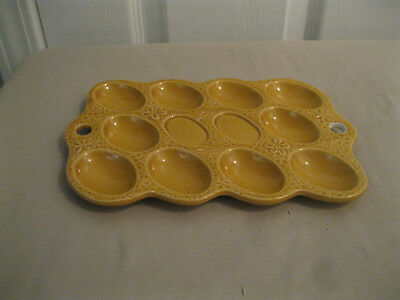 Vintage 60's Ceramic Yellow Gold Deviled Egg Plate Tray Platter Dish