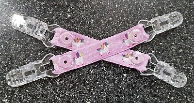 Mitten Clips Pink Unicorn Design Girls No More Lost Gloves! Elasticated Ribbon