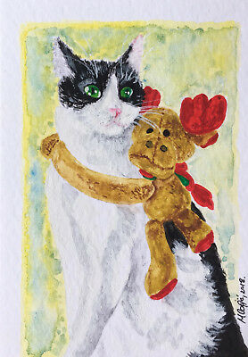 ACEO ORIGINAL cat winter snow miniature watercolor painting art teddybear cute