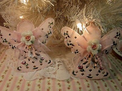 sweet shabby hand painted pink roses cutout angel christmas ornments