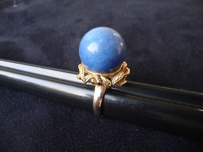 Vintage Retro Medium Blue Color 16Mm Ball 18K Heavy Gold Electroplated Ring