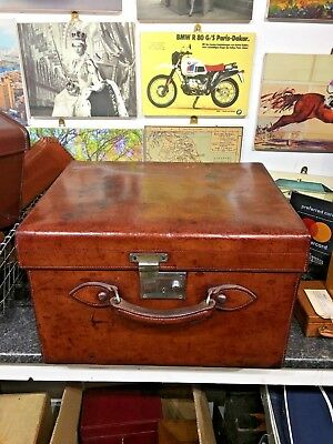 vintage heavy  leather harrods top hat box suitcase / bowler hat case with hats