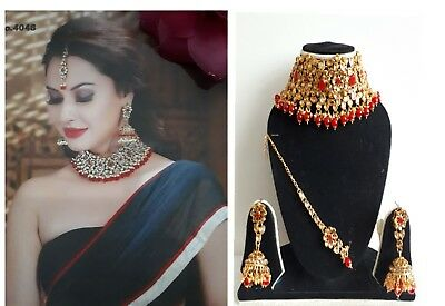 New Indian Bollywood Costume Jewellery Choker Set Pearl Gold Bronze Red Stone