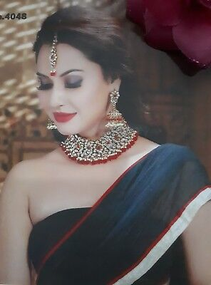 New Indian Bollywood Costume Jewellery Set Choker Stone Pearl Red White Wedding