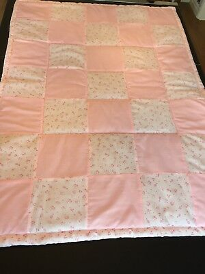 Handmade Baby nursery Cot Quilt Playmat in light pink